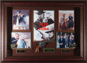 3:10 to Yuma Masterpiece Collage signed by Russell Crowe and Christian Bale with Framed-In Western Pistol