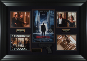 Inception Cast Signed Masterpiece Collage with Framed-In Movie Prop Pistol