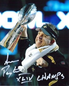 "Sean Payton Hand Signed ""Super Bowl XLIV Celebration"" 16x20 Masterpiece with ""XLIV Champs"" Inscription"