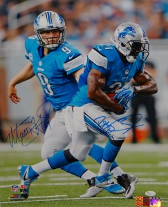 Reggie Bush and Matthew Stafford Dual Signed 16x20 Masterpiece
