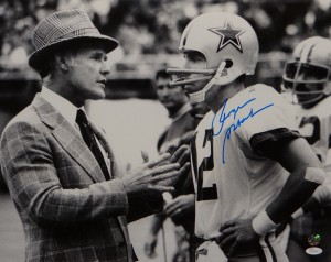 "Roger Staubach Hand Signed ""Being Coached by Tom Landry"" 16x20 Masterpiece"