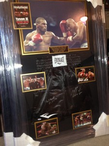 "Mike Tyson and Evander Holyfield Dual Signed ""Bite Fight"" Boxing Trunks Masterpiece Collage"