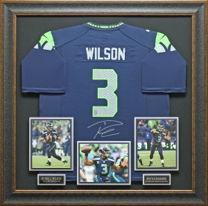 Russell Wilson Hand Signed and Framed Official Game Issue Seattle Seahawks Jersey